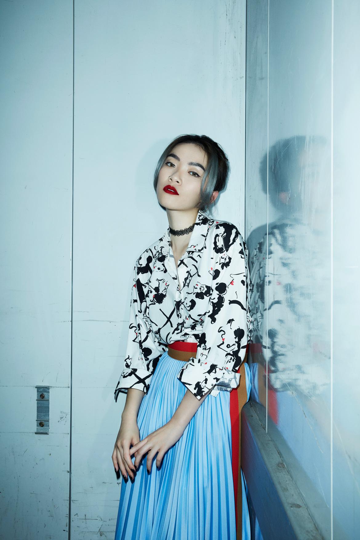 MSGM棉质印花衬衫 混人造丝褶子长裙