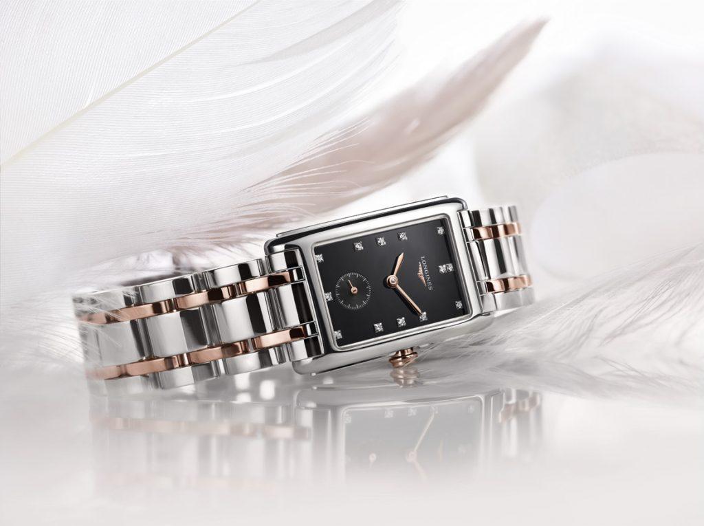 设计简约利落的LONGINES DOLCEVITA新版玫瑰金搭不锈钢钻表